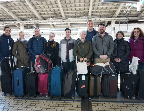 Portland Japanese Garden Kakehashi Group at Tokyo Station, about to board the Shinkansen for Kyoto