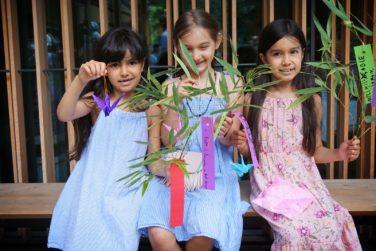 Children with Tanabata wishes