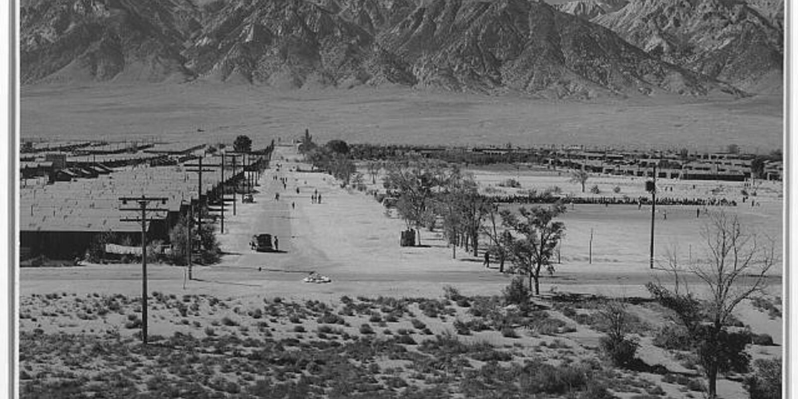 Manzanar Relocation Center from tower (1943)