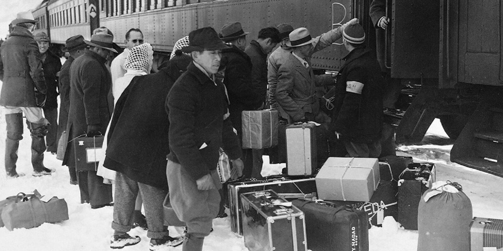 Manzanar internees being sent to the Tule Lake Internment Camp (Year unknown)