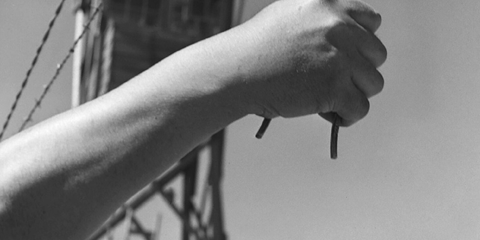 Wire Cutting Photograph Taken for the 1944 Manzanar High School Yearbok (1944)